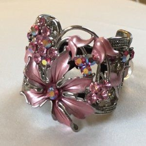 Accessories - Pink Floral Gem Clip Hair Tie